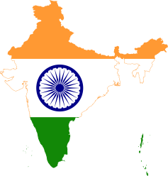 india map outline with flag